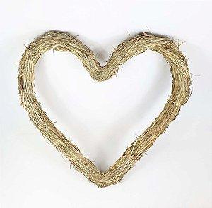 Aro de Guirlanda em Palha - Coração 40cm