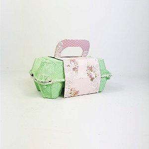 Caixa Para Ovos -  Flores/Verde