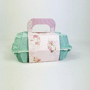 Caixa Para Ovos - Verde/ Flores