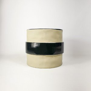 Vaso de Cerâmica - Preto/Bege