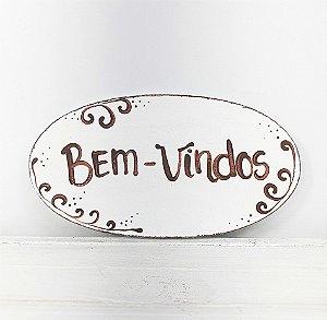 Placa Oval de Madeira Provençal Feita a Mão - Bem-Vindos 15cmx8cm