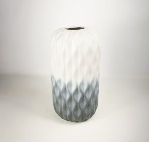 Vaso de Cerâmica Grande - Bege/Cinza