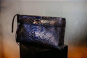 Clutch Sofia Retangular Azul Metalizado