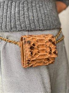 Mini Bag Daniela em Python Camel Artesanal