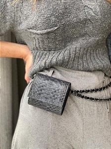 Mini Bag Daniela em Python Chumbo