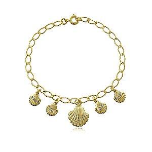 Pulseira banhada a ouro com pingentes de conchas