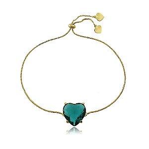 Pulseira de ajuste banhada a ouro com coração pedra verde