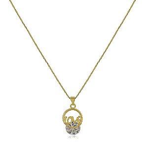 Colar banhado a ouro com pingente love com pedra de Zircônia