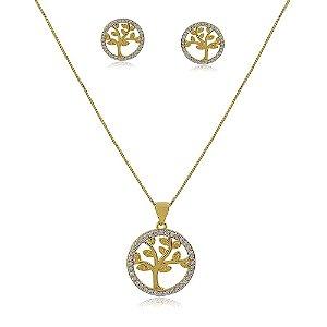 Conjunto árvore da vida banhado a ouro