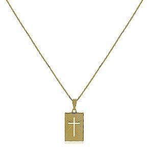 Colar masculino banhado a ouro com pingente de cruz