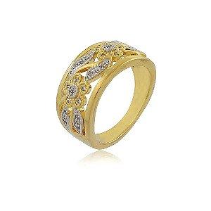 Anel banhado a ouro com detalhes de folhas e flores em strass