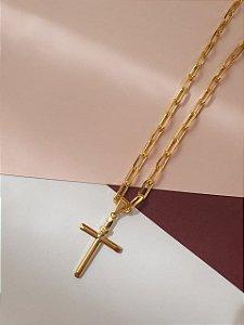 Corrente banha da a ouro Masculina com pingente de cruz