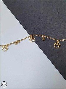 Tornozeleira banhada a ouro de patinhas