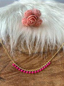 Tornozeleira banhada a ouro resina rosa