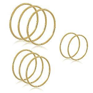 Kit 8 Anéis Lisos Dourado