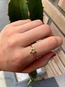 Anel Estrela Vazada Dourado