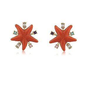 Brinco Estrela do Mar Coral Dourado