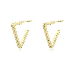 Brinco Argola Triangular Dourado
