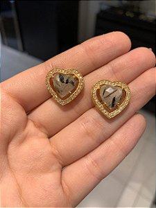 Brinco Coração Pedra