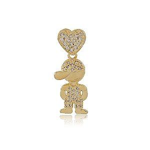 Pingente Menininho Coração Dourado