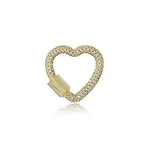 Pingente Coração Cravejado Dourado