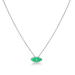 Colar Orly Pedra Verde Esmeralda Branco