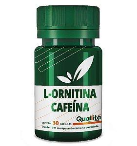 L-Ornitina 1500mg + Cafeína 100mg - (30 Cápsulas)
