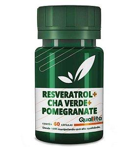 Resveratrol 10mg + Cha Verde 350mg + Pomegranate 400mg (60 Cápsulas)