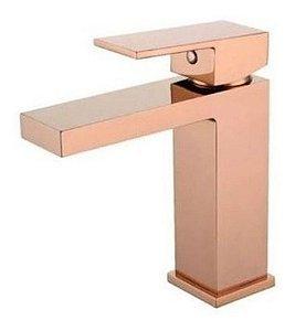 Torneira de Banheiro Monocomando Quadrada Baixa Rose Gold