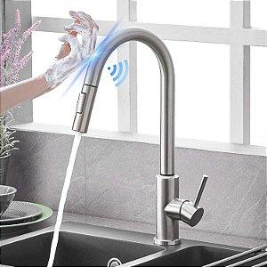 Torneira Cozinha Gourmet Extensível Flexível C/ Sensor Escovada