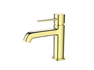 Torneira Banheiro Monocomando Mesa Baixa Metal Dourado Gold