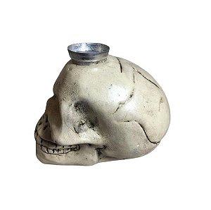 Castiçal Crânio em louça 20cm