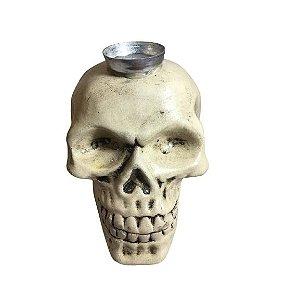 Castiçal Crânio em louça 15cm