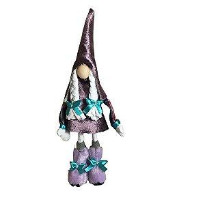 Gnominho em tecido em pé 15cm - Roxo/Azul