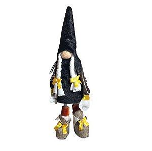 Gnominho em tecido em pé 15cm - Preto/Amarelo