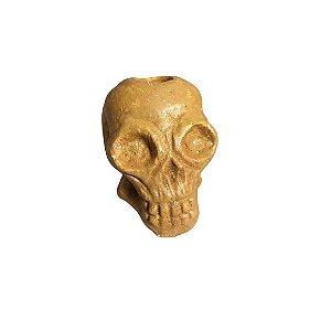 Castiçal crânio em barro 10cm