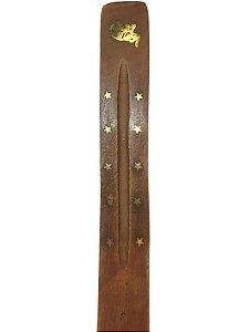 Incensário em Madeira Incrustado em Bronze