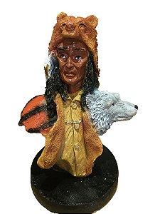 Busto Indio Xama em resina com 10cm altura