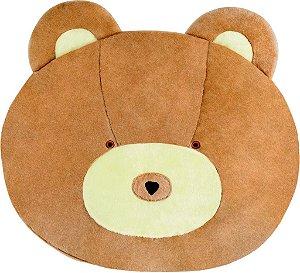 Tapete de Pelúcia Antiderrapante para Quarto Infantil Cara Urso Marrom/Bege 1,20m x 1,00m