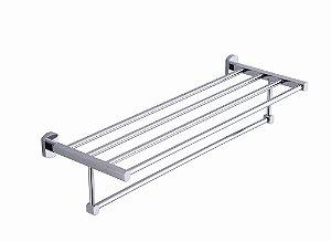 Suporte porta toalha metal acabamento quadrado Cromado - Alto Padrão