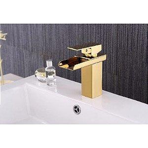 Torneira Gold Lavabo Banheiro Monocomando Dourada Praga Alto Padrão