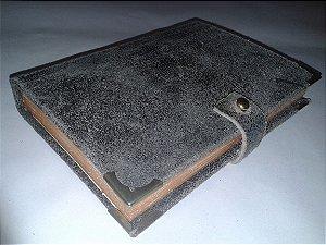 Caderno retrô capa couro cinza