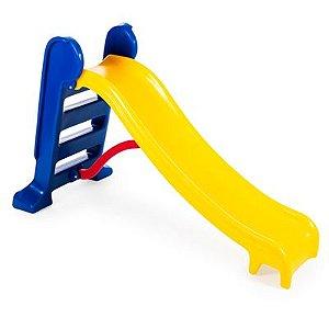 Escorregador Infantil Lilo Médio 3 Degraus Azul com Amarelo