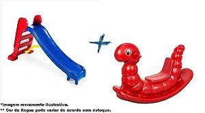 Kit Escorregador Médio Azul + Gangorra Minhoca Vermelha