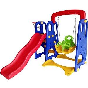 Playground 3x1 Escorregador, Balanço e Cesta de basquete