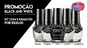 Kit Black White 5 Esmaltes por R$25,00