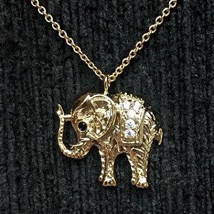 Colar Metal Elefante Dourado
