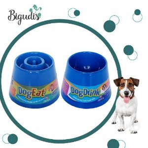 KIT 1 Comedouro Alto Lento Dog Eat + 1 Bebedouro Alto Dog Drink