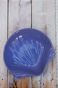Prato Decorativo em Cerâmica - Concha Média Azul