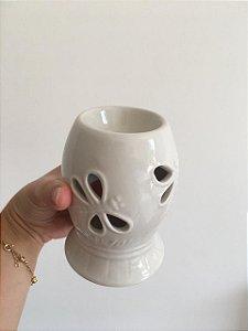 Difusor de óleo essencial à vela - Cerâmica branco Libélula